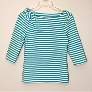 Kate Spade striped shirt with 3/4 sleeves. Size S.